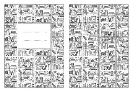 Cubierta de libro plantilla para folletos o cuadernos, con la mano dibujado estantería en blanco y negro