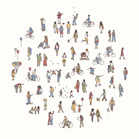 Round circle with tiny people