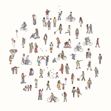 Rond cirkel met kleine mensen
