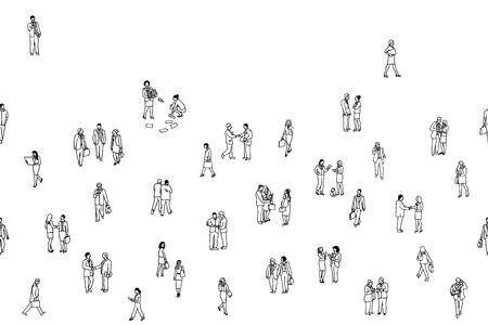 Illustration of tiny businesspeople, seamless banner Ilustração Vetorial