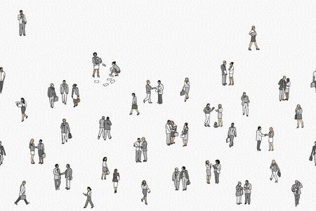 Illustratie van kleine zakenlieden, naadloze banner