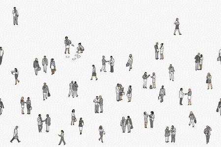 Illustration of tiny businesspeople, seamless banner Illustration