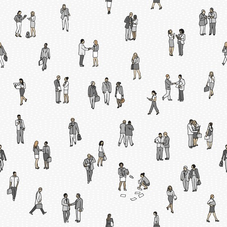 Seamless pattern of small business people