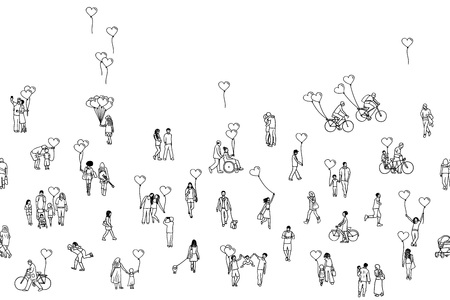 Love is all around - illustration of tiny people holding heart shaped balloons Illustration