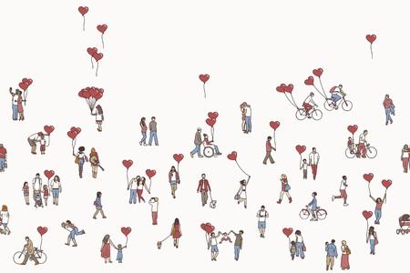 Liefde is rondom - illustratie van kleine mensen die hartvormige ballonnen hebben