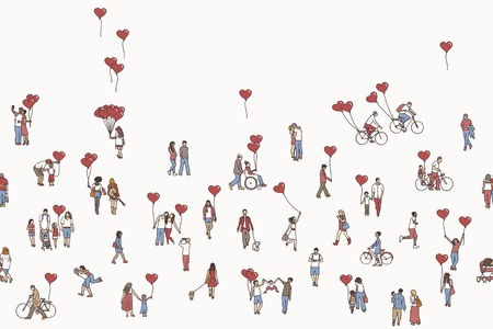 Love is all around - illustration of tiny people holding heart shaped balloons Ilustração