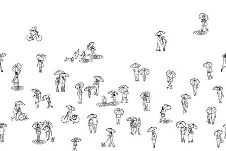 Tiny hand drawn people holding umbrellas