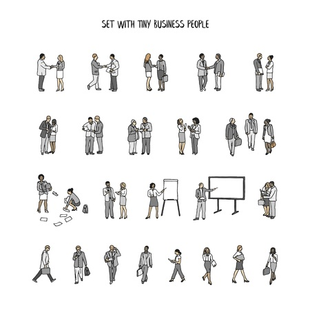 Set of tiny hand drawn business people Illustration