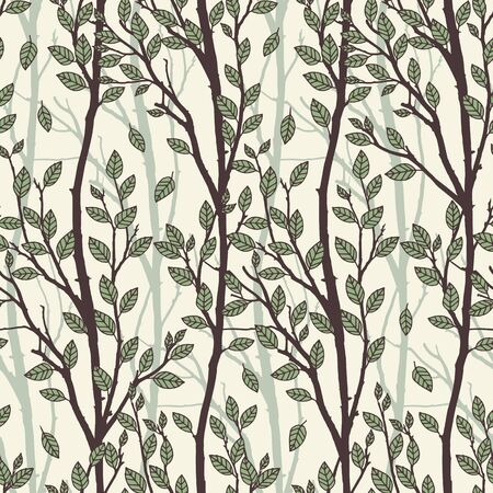 Hand drawn pattern of tree branches with green leaves. Illustration
