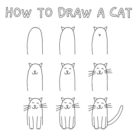 How to draw a cat step by step. Imagens - 88393489