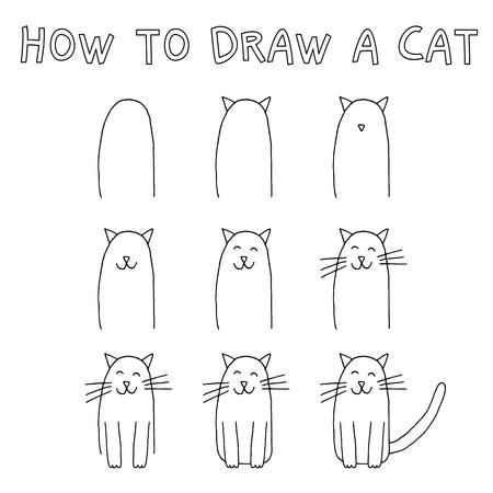 How to draw a cat step by step. Banco de Imagens - 88393489
