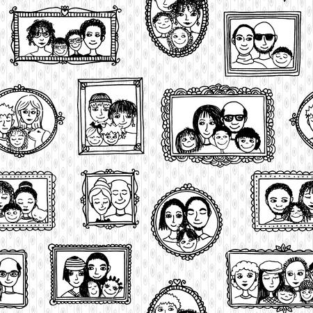 Naadloos patroon van schattige familiebeelden die op de muur hangen