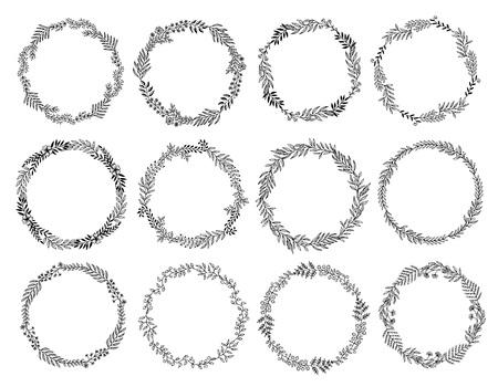 Set van 12 bloemenkransen gemaakt van handgetekende bladeren en bloemen. Stock Illustratie
