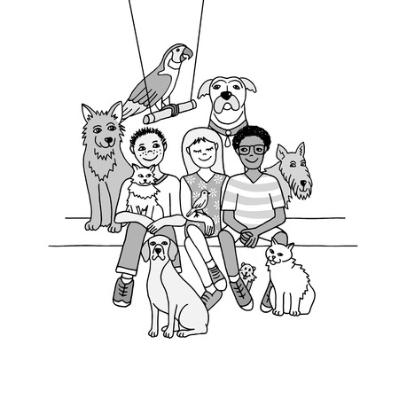 Drawing of three children with their pets