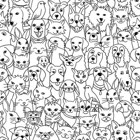 Modèle sans couture étiré de main avec des animaux domestiques mignons: chiens, chats, oiseaux, lapins, hamster