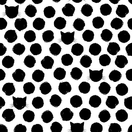 Hand drawn big polka dots with cat faces in between Ilustração