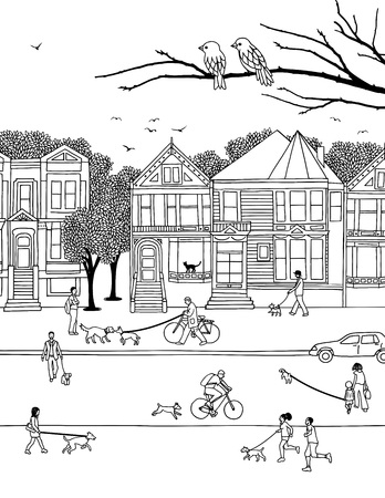 Hand drawn little people walking their dogs on leashes