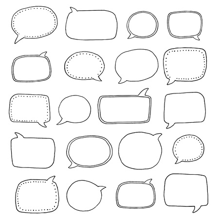 Collection of various hand drawn speech bubbles