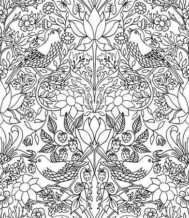Strawberry thief - hand drawn seamless pattern with black outlines, floral illustration with birds 向量圖像