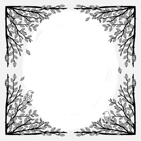 Cadre de texte avec des branches dessinés à la main Banque d'images - 88404904