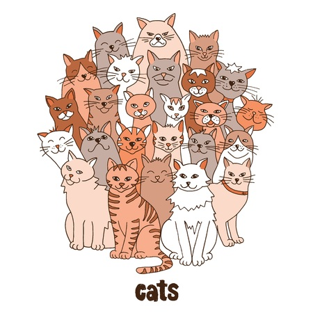 Group of hand drawn cats, standing in a circle Illustration