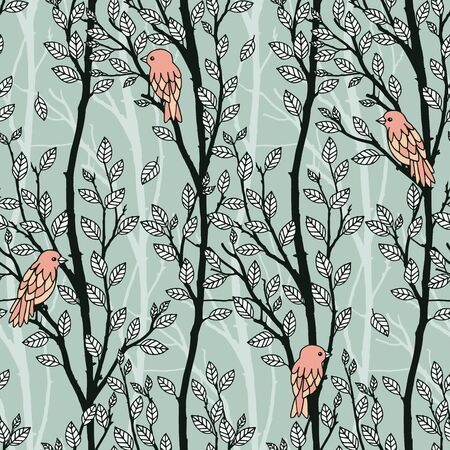 Hand drawn seamless pattern of tree branches with leaves and birds Illustration