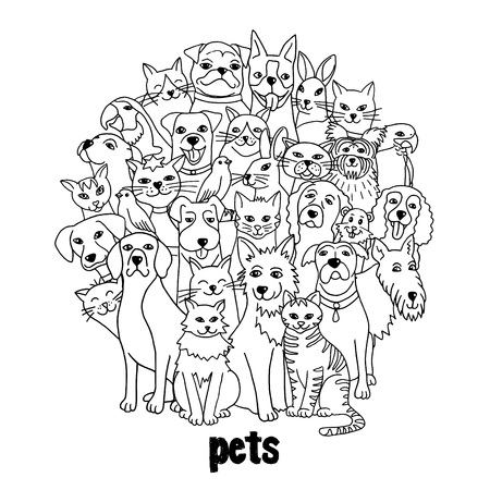 Group of hand drawn pets, like cats, dogs, birds, hamster, bunnies, standing in a circle