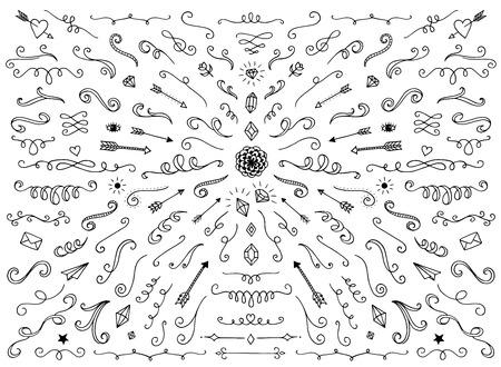 渦巻き、仕切り、装飾品、心等のようなさまざまなテキスト装飾要素のセットです。
