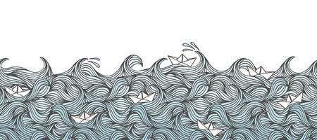 La bandiera senza cuciture con le onde disegnate a mano e le piccole barche di carta, può essere piastrellata orizzontalmente
