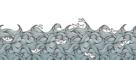 Seamless banner with hand drawn waves and little paper boats, can be tiled horizontally