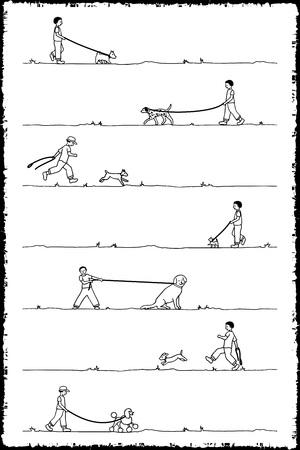 7 개의 다른 개를 산책하는 어린 소년의 드로잉