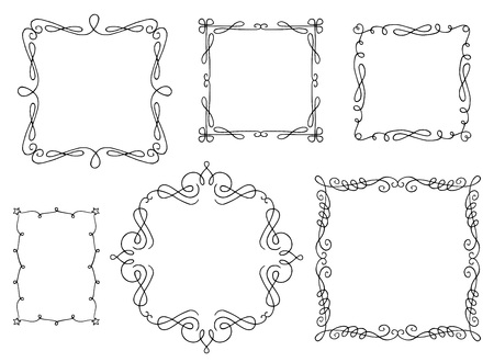 Set of hand drawn swirly text frames.