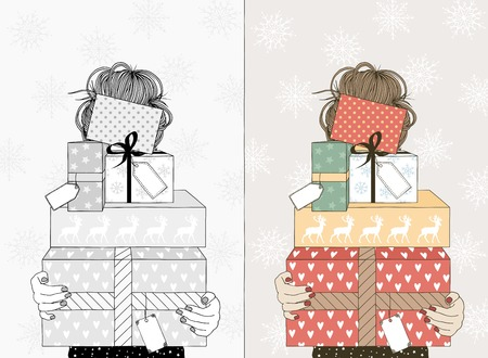 Young woman holding boxes with Christmas gifts. Illustration