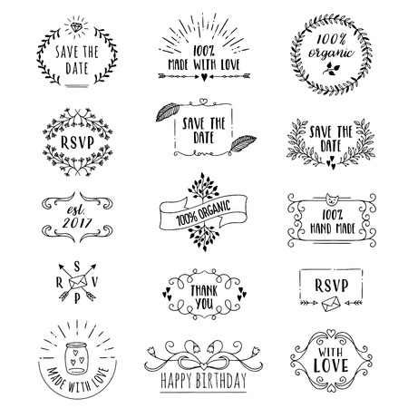 Hand drawn cute floral logo templates with various text Stock Illustratie