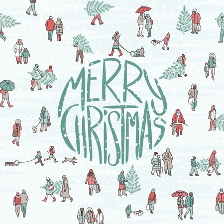 Hand drawn illustration of cute pedestrians walking through the city, with big letters saying Merry Christmas