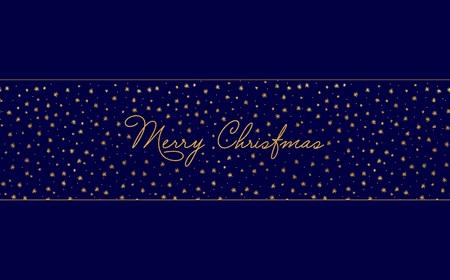 簡単なクリスマス カードのテンプレート - 金箔星と手書きの手紙と暗い青色の背景。