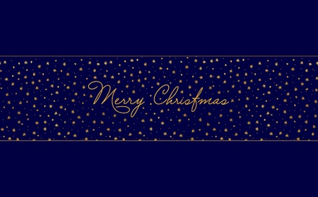 Simple Christmas card template - dark blue background with gold foil stars and handwritten letters.