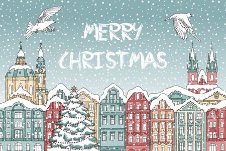 Illustratie van kleurrijke huizen bedekt met sneeuw, met kathedraal en vogels.