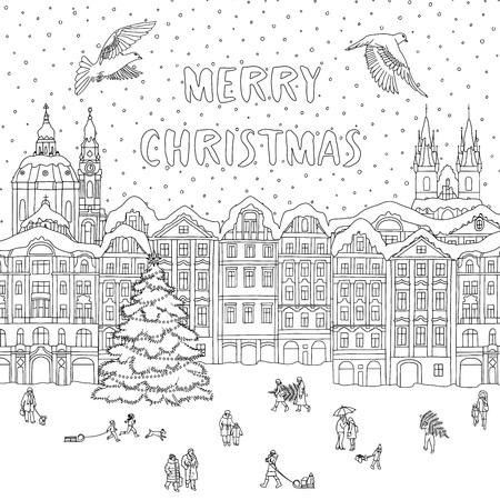 크리스마스 시간, 색칠 또는 인사말 카드의 라인 아트 겨울 도시.