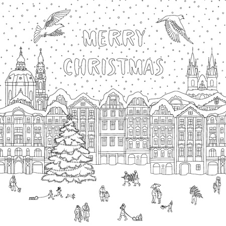 City in winter at Christmas time, line art for coloring or greeting card.