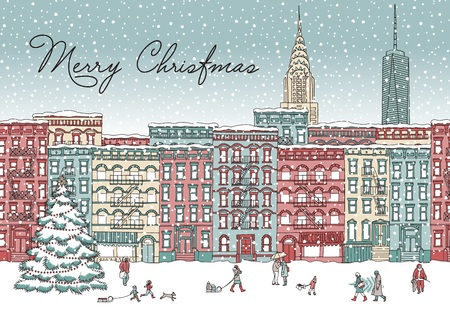 Hand drawn illustration of New York City in winter with snow. Illustration
