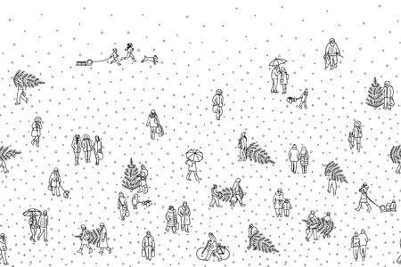 Hand drawn illustration of pedestrians walking in winter through the city.