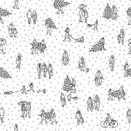 따뜻한 겨울 코트를 입고 크리스마스 트리를 들고 겨울에 도시를 걷는 사람들의 패턴. 일러스트