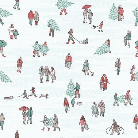 Naadloos patroon van mensen die door de stad in de winter lopen, die warme de winterlagen en dragende Kerstbomen dragen Stock Illustratie