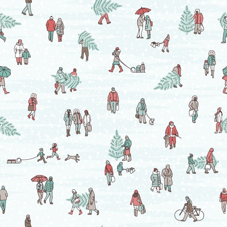 Seamless pattern of people walking through the city in winter, wearing warm winter coats and carrying Christmas trees
