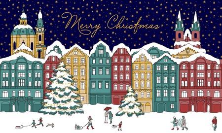 Winterstad 's nachts, met kleine mensen, kathedraal, kerstbomen en gouden sterren