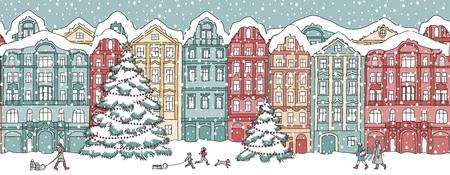 Kleurrijke huizen in de winter op Kerstmis. Stock Illustratie