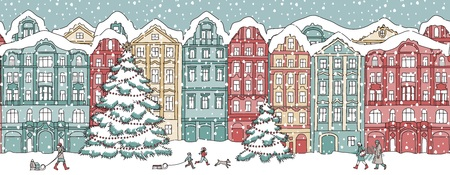 Colorful houses in winter at Christmas time. Illustration