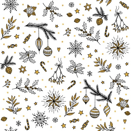 Hand drawn seamless pattern with different ornamental Christmas elements Ilustração