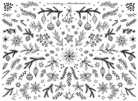 Hand sketched floral design elements for Christmas